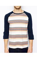 Asos 34 Sleeve Tshirt with Aztec Stripe - Lyst