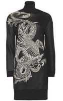 Roberto Cavalli Wool Blend Sweater Dress - Lyst