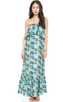 MSGM Long Flower Print Dress Mint - Lyst