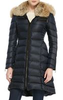 Dawn Levy Bee Puffer Coat with Fur Collar - Lyst