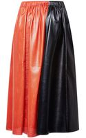 Proenza Schouler Orange and Black Paper Leather Elastic Waist Mid Skirt - Lyst