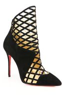 Christian Louboutin Mrs Bouglione Suede Cage Ankle Boots - Lyst