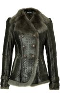Balmain Embossed Leather Jacket with Shearling Lining - Lyst