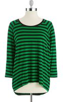 MICHAEL Michael Kors Striped Top with Threequarter Length Sleeves - Lyst