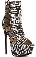 Akira Vicky Platform Caged Bootie in Tribal - Lyst