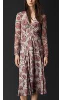 Burberry Floral Print Layered Silk Dress - Lyst