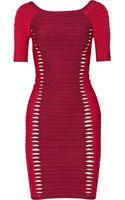 Hervé Léger Cutout Bandage Mini Dress - Lyst