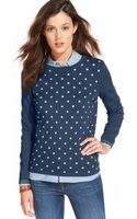 Tommy Hilfiger Polka-dot Scoop-neck Sweater - Lyst