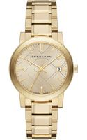 Burberry Goldtone Watch with Hydraulic Stamp Dial - Lyst