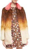 RED Valentino Ombre Fur Coat with Colorblock Collar - Lyst