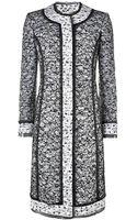 Oscar de la Renta Lace Overlay Tweed Coat - Lyst