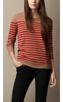 Burberry Striped Cashmere Sweater - Lyst