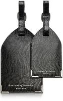 Aspinal Set Of 2 Black Lizard Embossed Leather Luggage Tags - Lyst