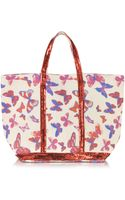 Vanessa Bruno Les Cabas Butterfly Printed Canvas and Sequin Medium Tote - Lyst