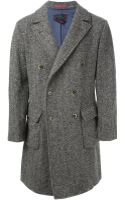 Homme Double Breasted Herringbone Coat - Lyst