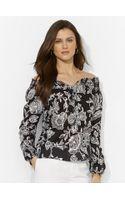 Lauren by Ralph Lauren Floral Smocked Cotton Top - Lyst