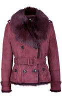 Burberry London Suedeshearling Haddingcroft Jacket with Fur Trim - Lyst