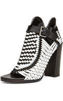 Proenza Schouler Woven Open Toe Leather Heels - Lyst