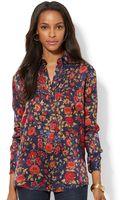 Lauren by Ralph Lauren Buttonfront Floralprint Tunic - Lyst