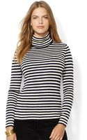 Lauren by Ralph Lauren Plus Striped Turtleneck Sweater - Lyst