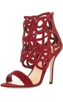 Oscar de la Renta Cutout Suede Glove Sandal Cardinal - Lyst