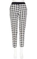 River Island Black and White Dogtooth Cigarette Trousers - Lyst