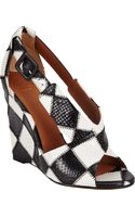 Givenchy Patchwork Crisscross Wedge Sandals - Lyst