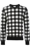 Saint Laurent Gingham Sweater - Lyst