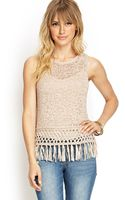 Forever 21 Loose Knit Fringed Top - Lyst