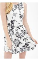 Forever 21 Rose Print Flare Dress - Lyst