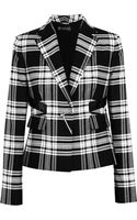 Versace Patent Leather-trimmed Plaid Wool-twill Blazer - Lyst