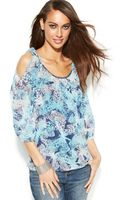 Inc International Concepts Petite Cold-shoulder Printed Top - Lyst