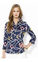 Lauren by Ralph Lauren Petite Threequarter Sleeve Cotton Shirt - Lyst