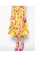 Asos Midi Skirt in Abstract Print - Lyst