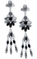 Guess Silver-tone Gray Crystal Linear Drop Earrings - Lyst
