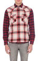 Diesel S-tor Plaid Cotton Shirt Red - Lyst