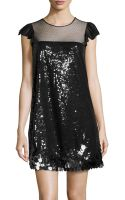 RED Valentino Rufflesleeve Sequin Shift Dress - Lyst