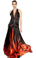 Roberto Cavalli Embellished Printed Silk Satin Dress - Lyst