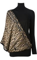 Roberto Cavalli Leopard Panel Sweater Dress - Lyst