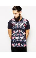 Asos Polo Shirt with Bird Print - Lyst