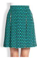 Etro Silk Floral  Grid Print Skirt - Lyst