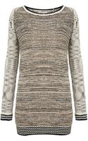 Label Lab Contrast Sleeve Textured Knit Jumper - Lyst