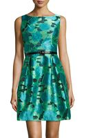 Muse Sleeveless Belted Floral Jacquard Dress - Lyst
