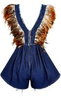 Kalmanovich Denim Feathered Jumper - Lyst