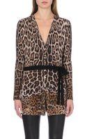 Roberto Cavalli Leopard-print Knitted Cardigan - Lyst