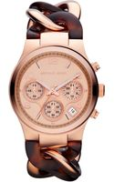 Michael Kors Womens Chronograph Tortoise Acetate and Rose Goldtone Stainless Steel Bracelet 38mm - Lyst