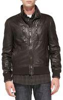 John Varvatos Leather Aviator Jacket - Lyst
