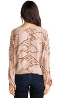 Twelfth Street by Cynthia Vincent Dolman Tie Front Blouse in Blush - Lyst
