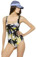 Fausto Puglisi Palm Printed Lycra Jersey Bodysuit - Lyst