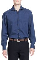 Brunello Cucinelli Washed Denim Dotprint Shirt - Lyst